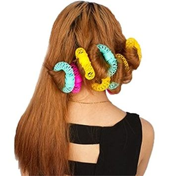 Women Donut Shape Hair Salon Accessory DIY Hair Styling Roller Curler Spiral Curls Tool Magic Curly Hairdressing Hairstyle Maker, Large size, 6 Pcs