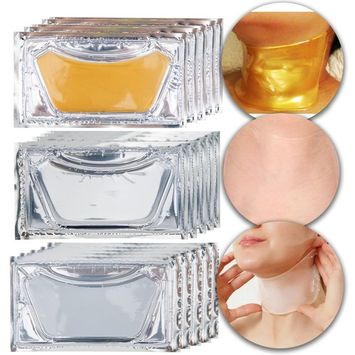 Anti Aging Set Kit of 15pcs Neck Chest Décolleté 24 K Gold Golden, Milk White and Clear Transparent Collagen Gel Crystal Masks for Wrinkles Removal, Skin Toning, Firming, Whitening and Moisturizing