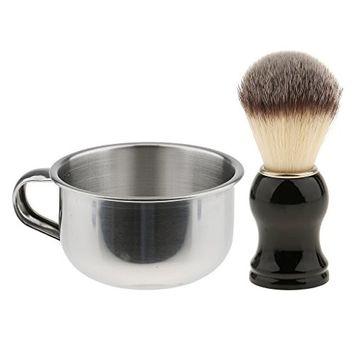 Homyl Barber Shave Set Men's Shaving Brush Soap Mug Bowl Facial Beard Cleaning