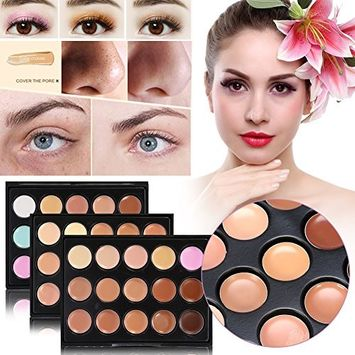 Concealer Palette, 3 Box 45 Colors Face Contour and Highlighting Cover Professional Make Up Tool Set