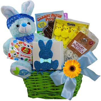 Art of Appreciation Gift Baskets Bunny Treats Chocolate & Candy Easter Basket, Blue [Blue]