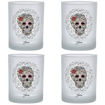 14 oz. Skull and Vine Sugar Frosted Double Old-Fashioned Glass (Set of 4)