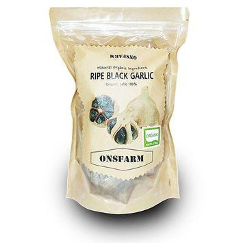 ONSFARM Organic Aged Whole Black Garlic Bulb Abundant of S-Allyl cysteine from Special Red Clay Fermentation Process 16oz(16~20 bulb)