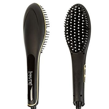 Hair Straightener – Haute Electric Straightening Brush with Burn Resistant Ceramic Bristles & LCD Temperature Display