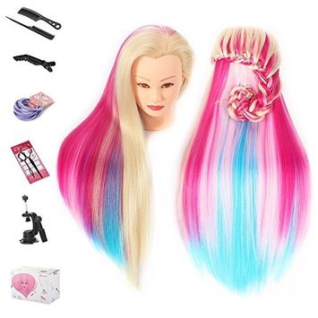 Beauty Star 29 Inch Colorful Mannequin Head with 100% Syntheic Hair Professional Bride Hairdressing Cosmetology Doll Head Training Head Free Stand holder + Practice Tools