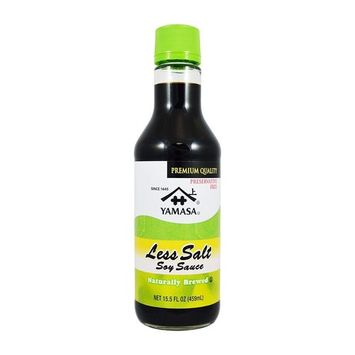 KC Commerce Yamasa Brewed Less Salt Soy Sauce 15.5oz Pack of 2 With FREE Sauce Bottle