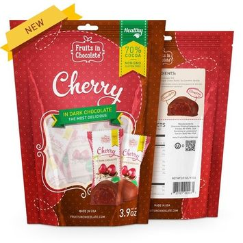 70% Cocoa Dark Chocolate Covered Cherry, 3.9 oz Bag