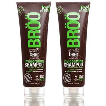 Bröö Invigorating Shampoo (Pack of 2) With Beer, Peppermint Oil, Menthol, Aloe Leaf and Caffeine, 8.5 fl. oz. each.