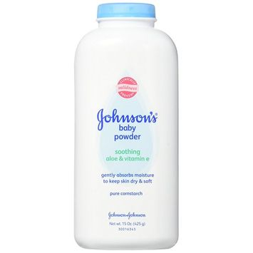 Johnson & Johnson Pure Cornstarch Baby Powder With Soothing Aloe Vera & Vitamin-E ,15 ounce (6 Pack)