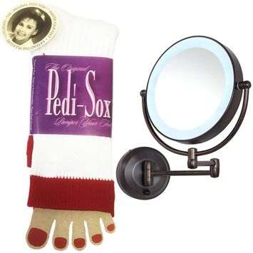 The Original Pedi-Sox Red Band and Zadro Oil Rubbed Bronze LEDW810 LED Lighted Wall Mount