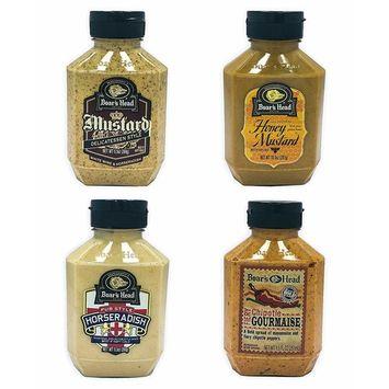 Boar's Head Deli Condiment 4-Pack Bundle Variety Gift Set, Chipotle Gourmaise, Honey Mustard, Deli Mustard, Pub Style Horseradish, Gluten Free