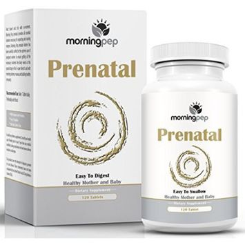 Morning Pep Prenatal Vitamin 120 Count With Probiotics And Folic Acid To Aid Morning Sickness And Nausea, One A Day Easy To Swallow Tablet With A Superior Blend Of Enzymes For Expecting And Nursing Mothers
