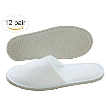 Three Artisans Featured Waffle Closed Toe Disposable Spa Hotel Slippers Individually Packed For Men and Women 12 Pack