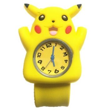 Cute 3d Cartoon Sea Animal Watch Children's Rubber Snap-on Slap Cuff Watch Gifts Idea (Yello Pikachu)