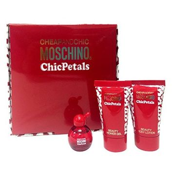 Cheap & Chic Moschino Chic Petals: (Eau De Toilette, Body Lotion,shower Gel) 3pc Mini Set