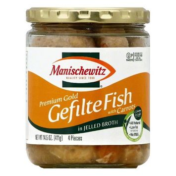 Manischewitz in Jelled Broth with Carrots Premium Gold Gefilte Fish, 4 ea (Pack of 6)
