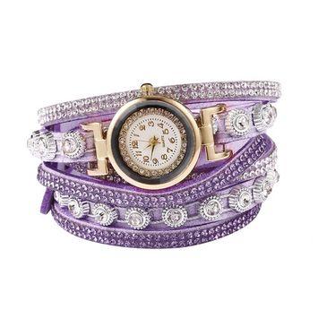 Unbrand - Women Fashion Casual Decor Round Rhinestone Bracelet Watch TOYS2 [name: actual_color value: actual_color-purple]