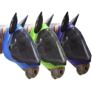 Derby Extra Comfort Lycra Grip Soft Mesh Horse Fly Mask with Ears