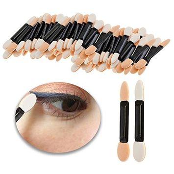 Make Up Set Kit of 100pcs Disposable Eyeshadows Applicators Double Ended Eyes Shadows Sponge Brushes Smudges Application Tools