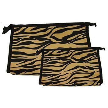 Set of 2 Matching Zebra Travel Cosmetic Bag - Makeup Bag - Toiletry Bag - Lightweight - Gold Color