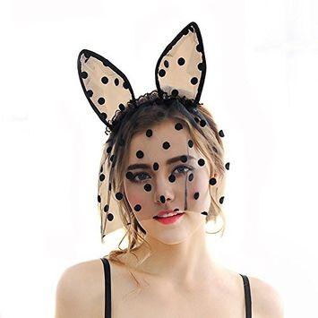 1PC Black With Dot Lace Cute Party Headband Mask Veil Bunny Cat Ears Cosplay Hairband Hairdress Hairwear Hair Hoop For Xmas Halloween Party
