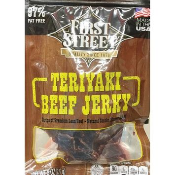 8oz First Street Teriyaki Beef Jerky, Strips of Premium Lean Beef (Pack of 1)