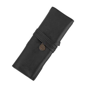 MagiDeal Retro Pencil Case Roll Makeup Pouch Brush Holder Bag Black