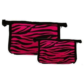 Set of 2 Matching Zebra Travel Cosmetic Bag - Makeup Bag - Toiletry Bag - Lightweight - Pink Color