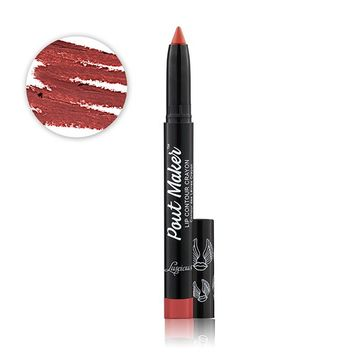 Poutmaker Lip Liner Contouring Crayon by Luscious Cosmetics - Vegan & Cruelty Free - Safety Tested - Lead Free - Built In Sharpener. [Shade: Untamed]