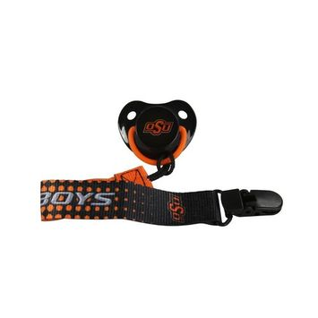 Orthodontic Pacifier and Lanyard Clip Combo| Official NCAA Oklahoma State University Licensed Product