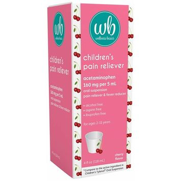 Wellness Basics Children's Pain & Fever Relief Acetaminophen Liquid, Cherry, 4 Fluid Ounce
