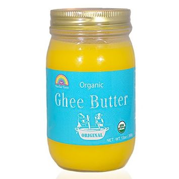 Grass-Fed Ghee Clarified Butter,Organic,Gluten-Free,Unsalted,USDA Certified by Rainbow Farms - Glass Jar