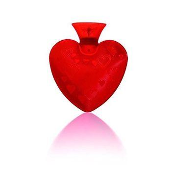 Fashy Small Heart Shaped Red Transparent Travel Size Hot Water Bottle Made in Germany, Soothes Aches and Pains, Eases Stress, 0.7 Liter Capacity
