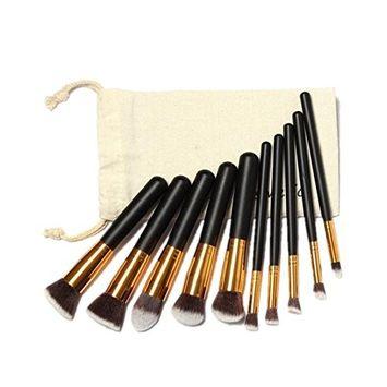 Start 10pcs Professional Makeup Brushes Set & Canvas Makeup Bag for Brush (G