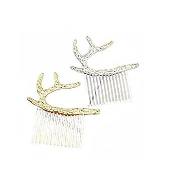 2PCS Women Lady Girl Imitate Deadwood Antlers Metal Hairpin Hair Clip Clamps and Elk Horn Side Hair Pin Claw Barrettes with Comb Hair Accessories