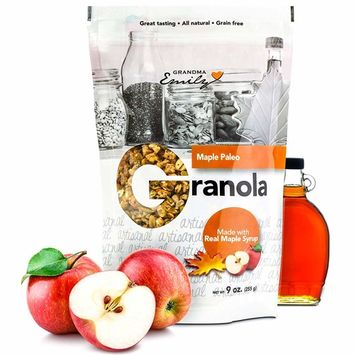 Grandma Emily Maple Paleo Granola Cereal, Gluten-Free, Grain-Free, Low Carb, 8 Grams Protein, 2 Bags 9 ounces each