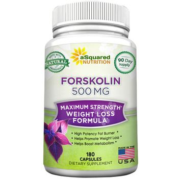aSquared Nutrition Forskolin 500mg Max Strength - 180 Capsules, 100% Pure Forskolin Extract Supplement for Weight Loss Fuel, Coleus Forskohlii Root 20% Forskolin Diet Pills