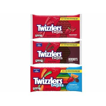 Assorted Twizzlers Twists Strawberry, Chocolate and Rainbow (3 Pack)
