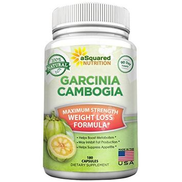 100% Pure Garcinia Cambogia Extract - 180 Capsule Pills, Natural Weight Loss Diet Supplement, Ultra High Strength HCA, Best Max XT Premium Slim Detox Tablet for Men & Women with Reviews, Extreme Lean!