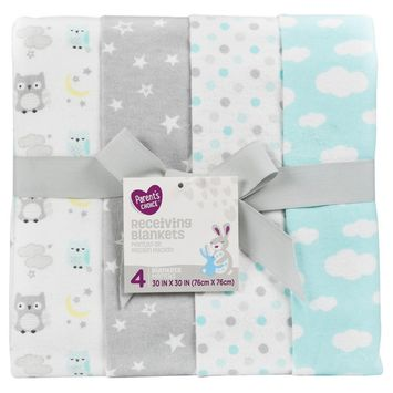 Parent's Choice Receiving Blankets, Owls, 4 Pack