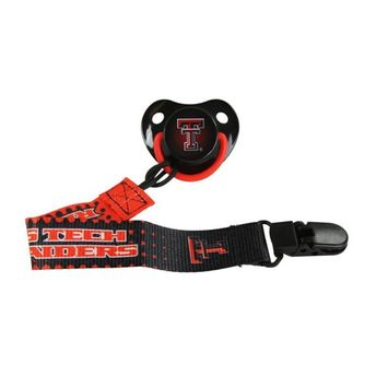 Orthodontic Pacifier and Lanyard Clip Combo| Official NCAA Texas Tech University Licensed Product