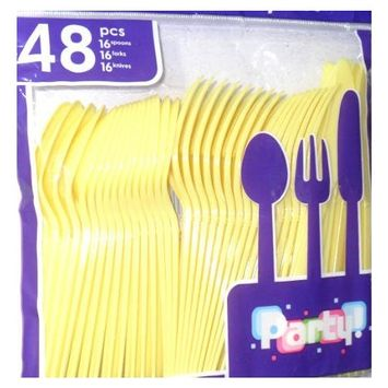 Yellow Plastic Forks Spoon & Knives - 48pc Set