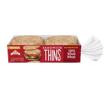 Arnold 100% Whole Wheat Sandwich Thins, 6 Rolls, 12 oz