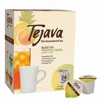Tejava Unsweetened Black Tea Pods with Natural Pineapple-Mango Flavor, Award-Winning Tea, 100% Recyclable Single Serve Cups   Keurig K-Cup Compatible (24 Count)
