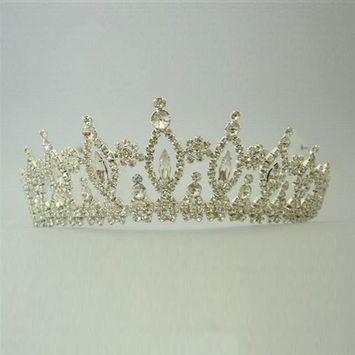 Girls Silver Crystal Rhinestone Queen Special Occasion Headpiece