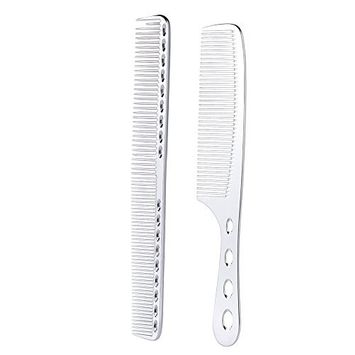 Anself 2Pcs Salon Hair Comb with Scale Professional Barber Hairdressing Steel Comb Metal Hair Cutting Comb