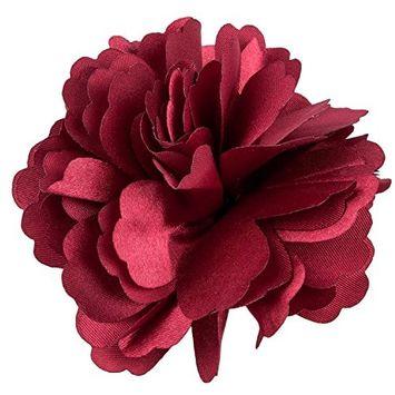 SODIAL Women Girls Satin Peony Flower Hair Clip Brooch - Claret