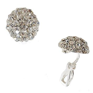 Silver Crystal Circle Clip Earring