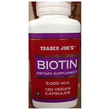 Trader Joe's Biotin Dietary Supplement, 5000mcg, 120 Vegan Capsules