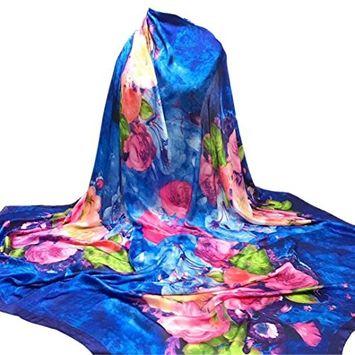 Lanhui Elegant Women Printing Hijab Scarves Long Wrap Shawl Ladies Silk-Satin Square Scarf